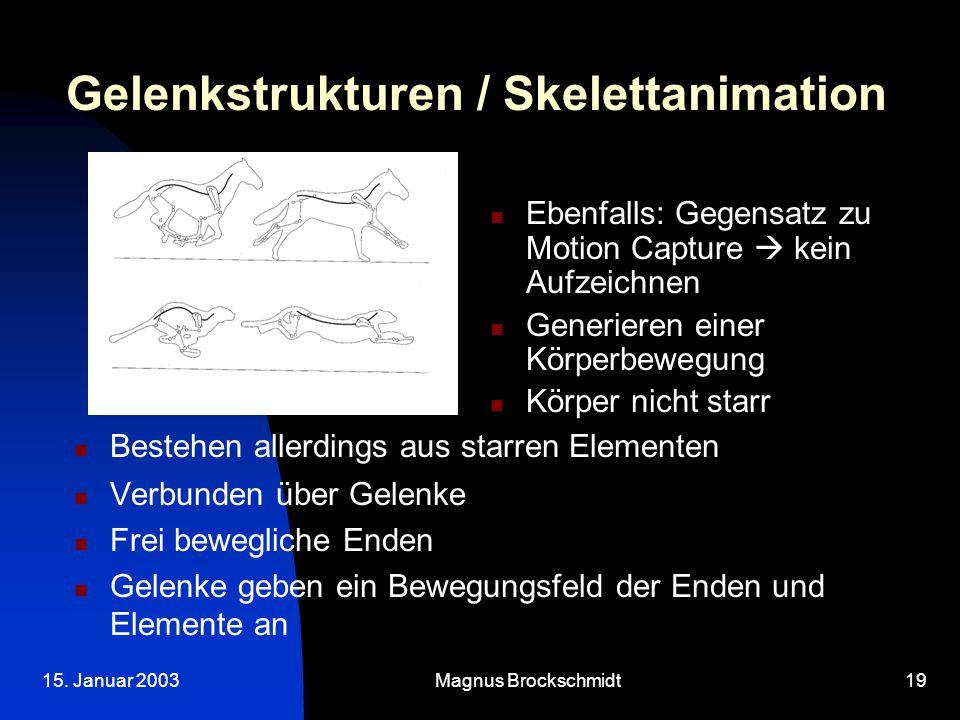 15. Januar 2003Magnus Brockschmidt19 Gelenkstrukturen / Skelettanimation Bestehen allerdings aus starren Elementen Verbunden über Gelenke Frei bewegli