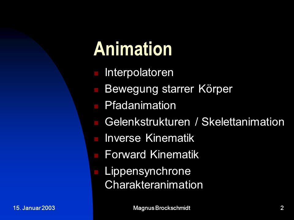 15. Januar 2003Magnus Brockschmidt2 Animation Interpolatoren Bewegung starrer Körper Pfadanimation Gelenkstrukturen / Skelettanimation Inverse Kinemat