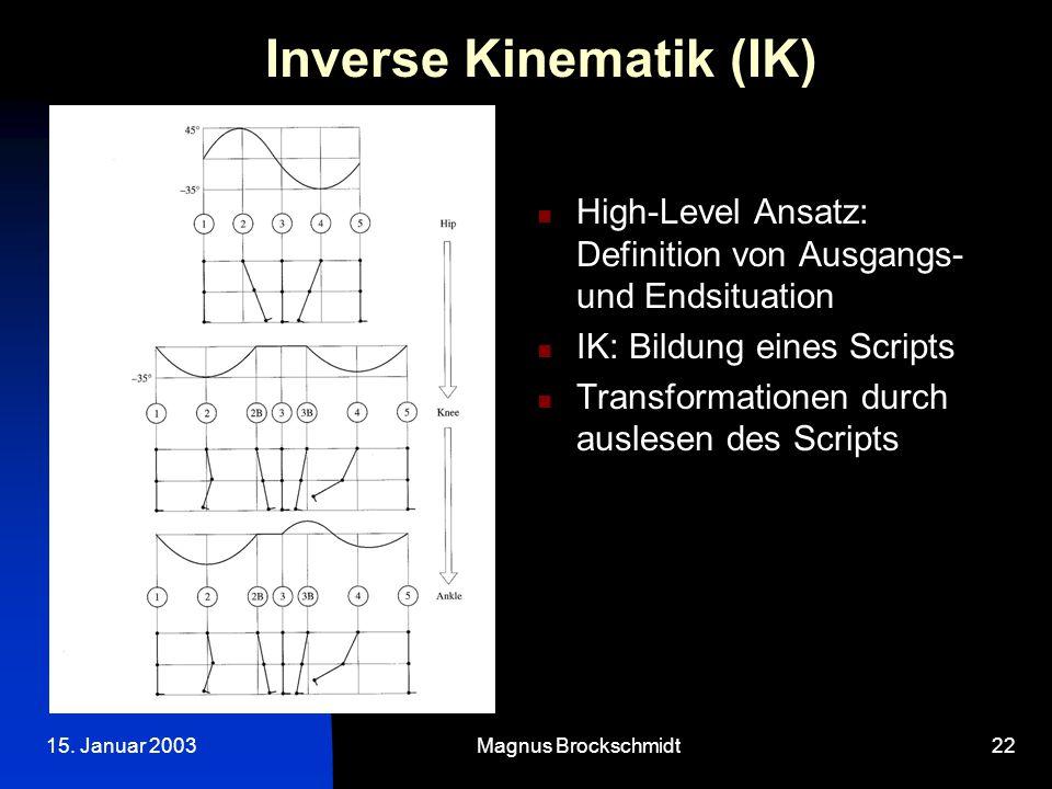 15. Januar 2003Magnus Brockschmidt22 Inverse Kinematik (IK) High-Level Ansatz: Definition von Ausgangs- und Endsituation IK: Bildung eines Scripts Tra