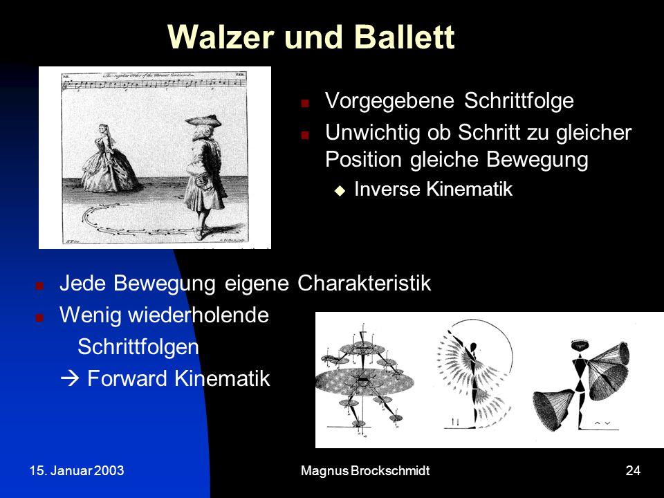 15. Januar 2003Magnus Brockschmidt24 Walzer und Ballett Vorgegebene Schrittfolge Unwichtig ob Schritt zu gleicher Position gleiche Bewegung  Inverse
