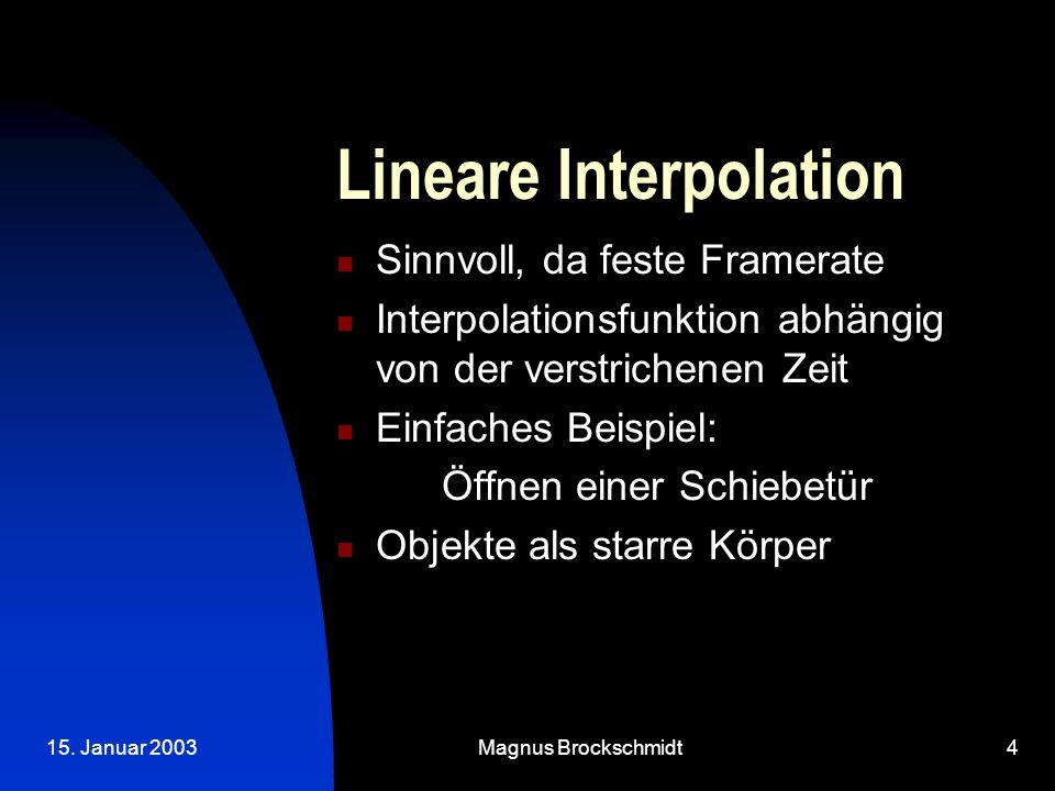 15. Januar 2003Magnus Brockschmidt4 Lineare Interpolation Sinnvoll, da feste Framerate Interpolationsfunktion abhängig von der verstrichenen Zeit Einf