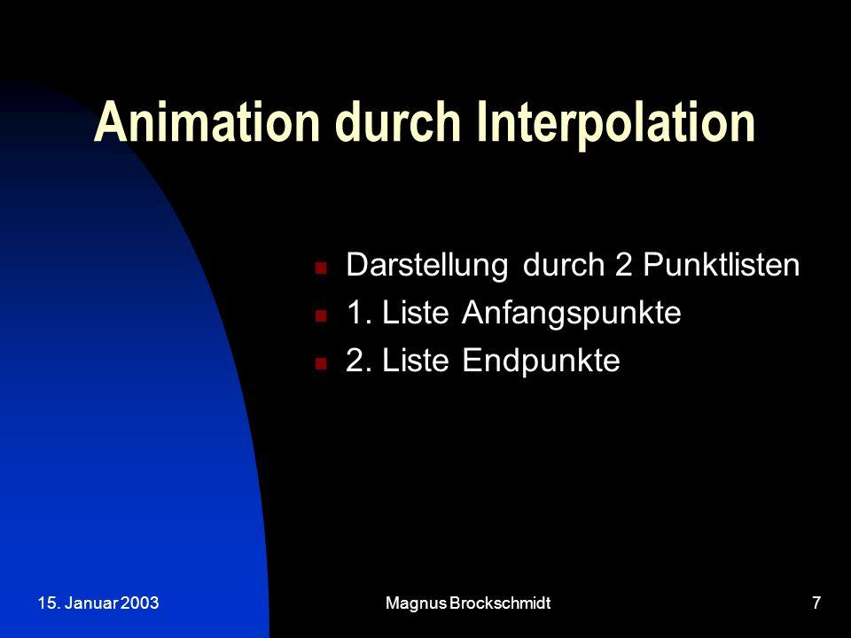 15. Januar 2003Magnus Brockschmidt7 Animation durch Interpolation Darstellung durch 2 Punktlisten 1. Liste Anfangspunkte 2. Liste Endpunkte