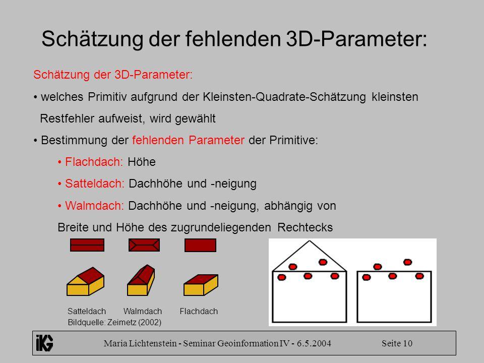 Maria Lichtenstein - Seminar Geoinformation IV - 6.5.2004 Seite 10 Schätzung der fehlenden 3D-Parameter: Schätzung der 3D-Parameter: welches Primitiv