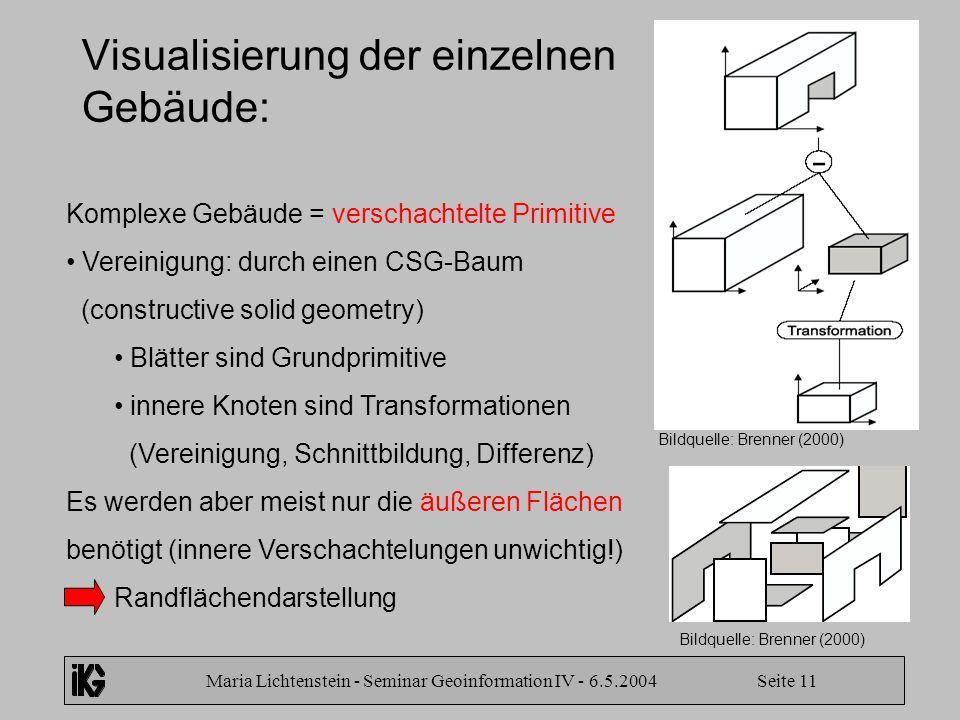 Maria Lichtenstein - Seminar Geoinformation IV - 6.5.2004 Seite 11 Visualisierung der einzelnen Gebäude: Komplexe Gebäude = verschachtelte Primitive V