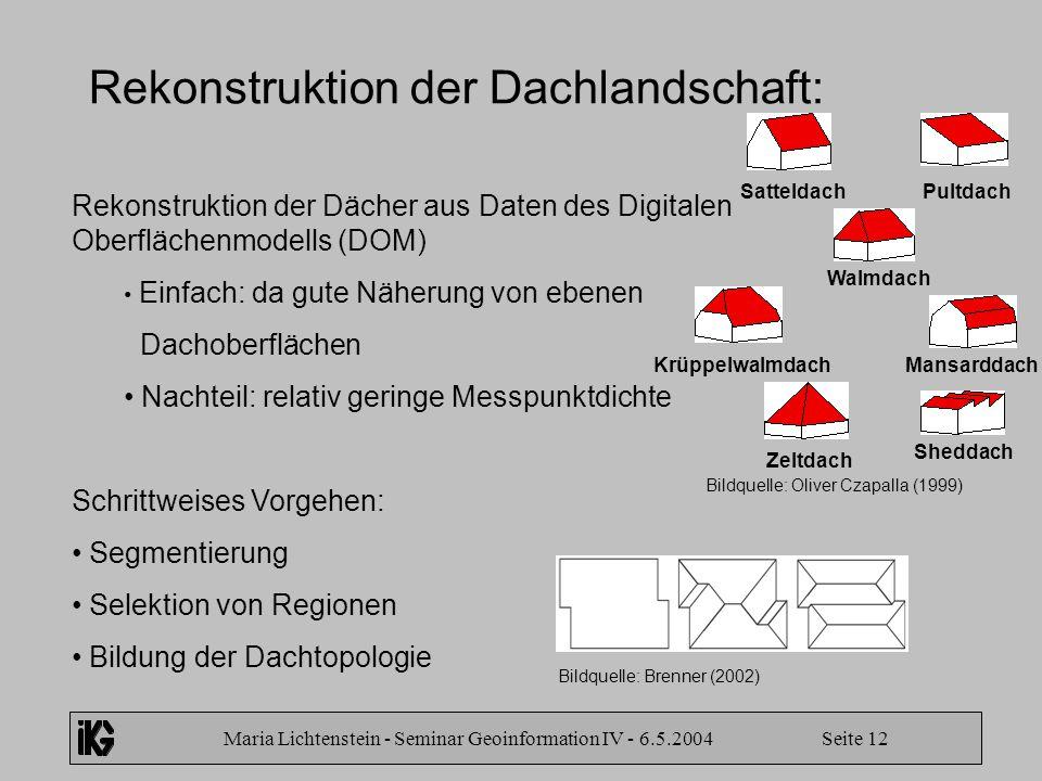 Maria Lichtenstein - Seminar Geoinformation IV - 6.5.2004 Seite 12 Rekonstruktion der Dachlandschaft: Rekonstruktion der Dächer aus Daten des Digitale