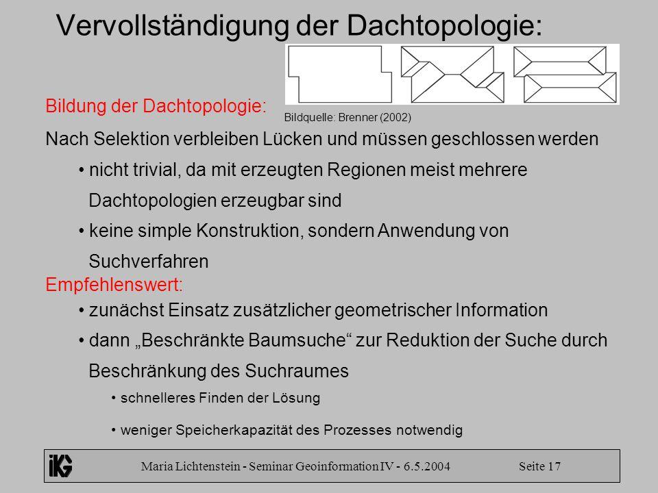 Maria Lichtenstein - Seminar Geoinformation IV - 6.5.2004 Seite 17 Vervollständigung der Dachtopologie: Bildung der Dachtopologie: Nach Selektion verb