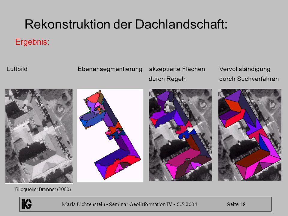 Maria Lichtenstein - Seminar Geoinformation IV - 6.5.2004 Seite 18 Rekonstruktion der Dachlandschaft: Ergebnis: Bildquelle: Brenner (2000) Luftbild Eb