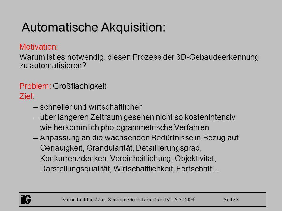 Maria Lichtenstein - Seminar Geoinformation IV - 6.5.2004 Seite 3 Automatische Akquisition: Motivation: Warum ist es notwendig, diesen Prozess der 3D-