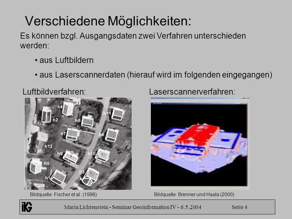 Maria Lichtenstein - Seminar Geoinformation IV - 6.5.2004 Seite 4 Verschiedene Möglichkeiten: Es können bzgl. Ausgangsdaten zwei Verfahren unterschied