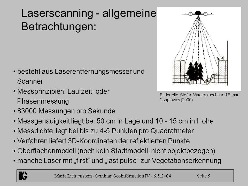 Maria Lichtenstein - Seminar Geoinformation IV - 6.5.2004 Seite 5 Laserscanning - allgemeine Betrachtungen: besteht aus Laserentfernungsmesser und Sca