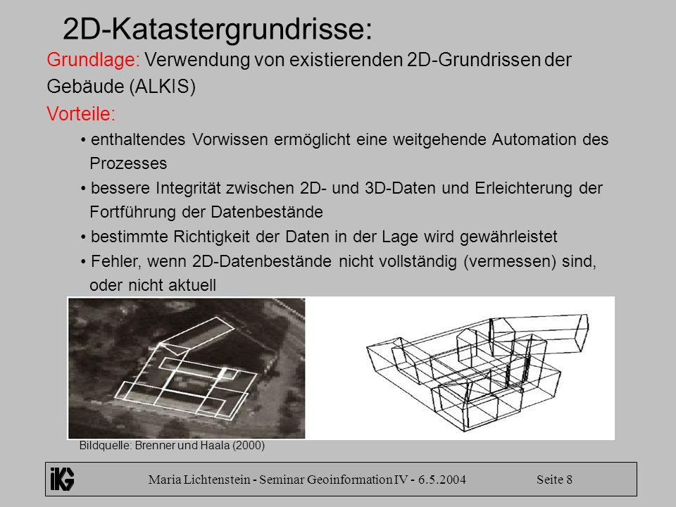 Maria Lichtenstein - Seminar Geoinformation IV - 6.5.2004 Seite 8 2D-Katastergrundrisse: Grundlage: Verwendung von existierenden 2D-Grundrissen der Ge
