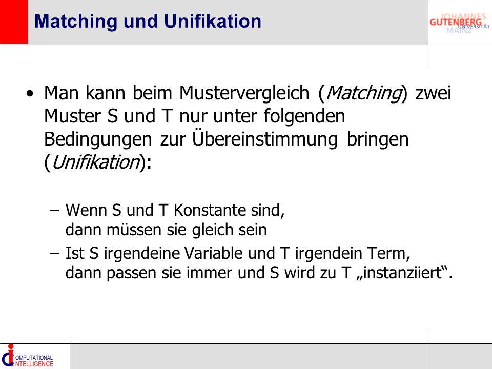"""Matching und Unifikation Man kann beim Mustervergleich (Matching) zwei Muster S und T nur unter folgenden Bedingungen zur Übereinstimmung bringen (Unifikation): –Wenn S und T Konstante sind, dann müssen sie gleich sein –Ist S irgendeine Variable und T irgendein Term, dann passen sie immer und S wird zu T """"instanziiert ."""