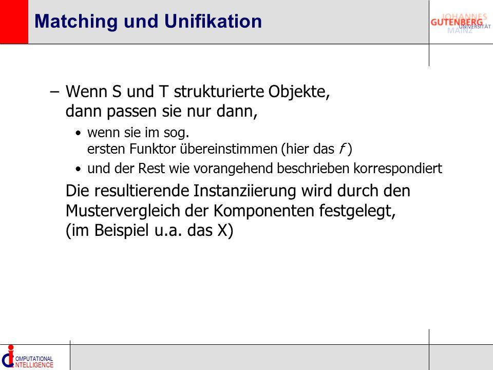 Matching und Unifikation –Wenn S und T strukturierte Objekte, dann passen sie nur dann, wenn sie im sog. ersten Funktor übereinstimmen (hier das f ) u