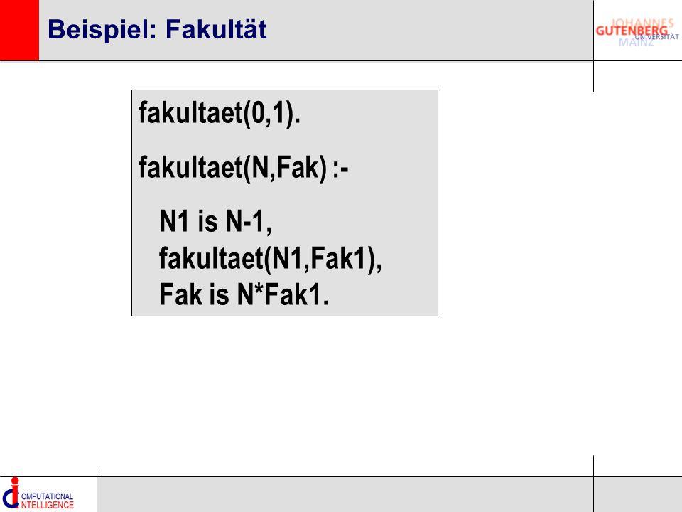 Beispiel: Fakultät fakultaet(0,1). fakultaet(N,Fak) :- N1 is N-1, fakultaet(N1,Fak1), Fak is N*Fak1.