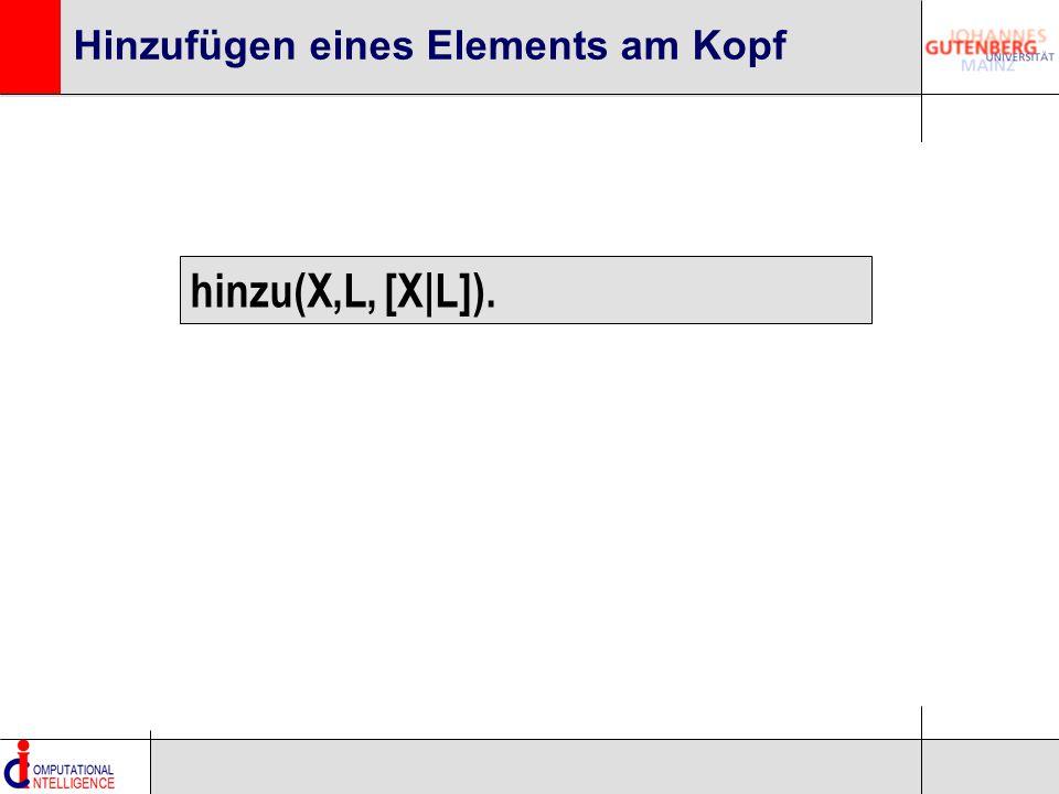 Hinzufügen eines Elements am Kopf hinzu(X,L, [X|L]).
