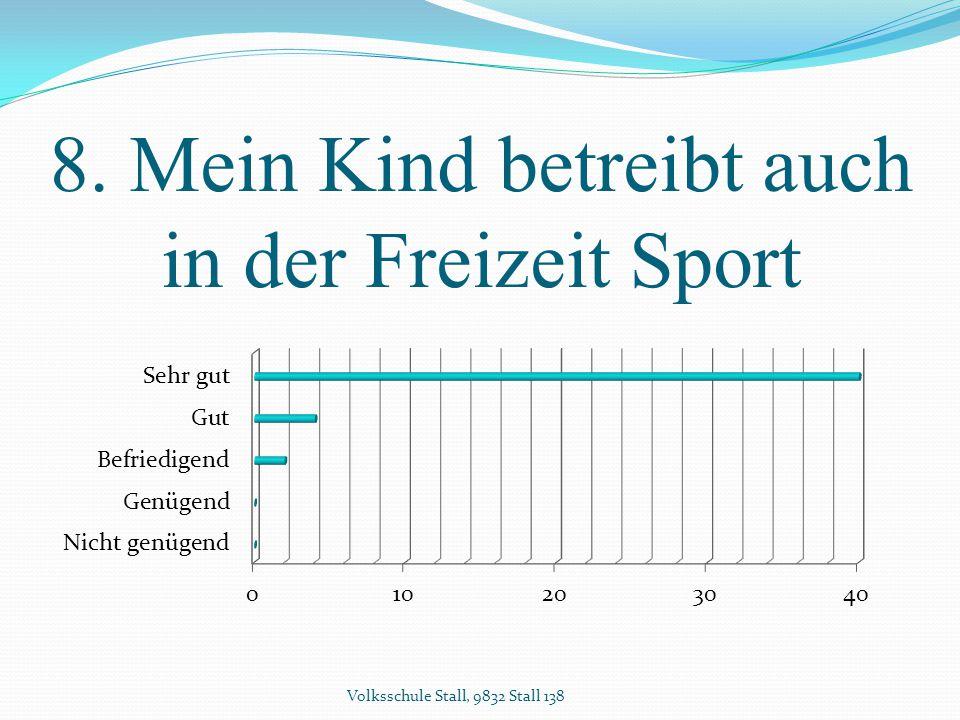 8. Mein Kind betreibt auch in der Freizeit Sport Volksschule Stall, 9832 Stall 138