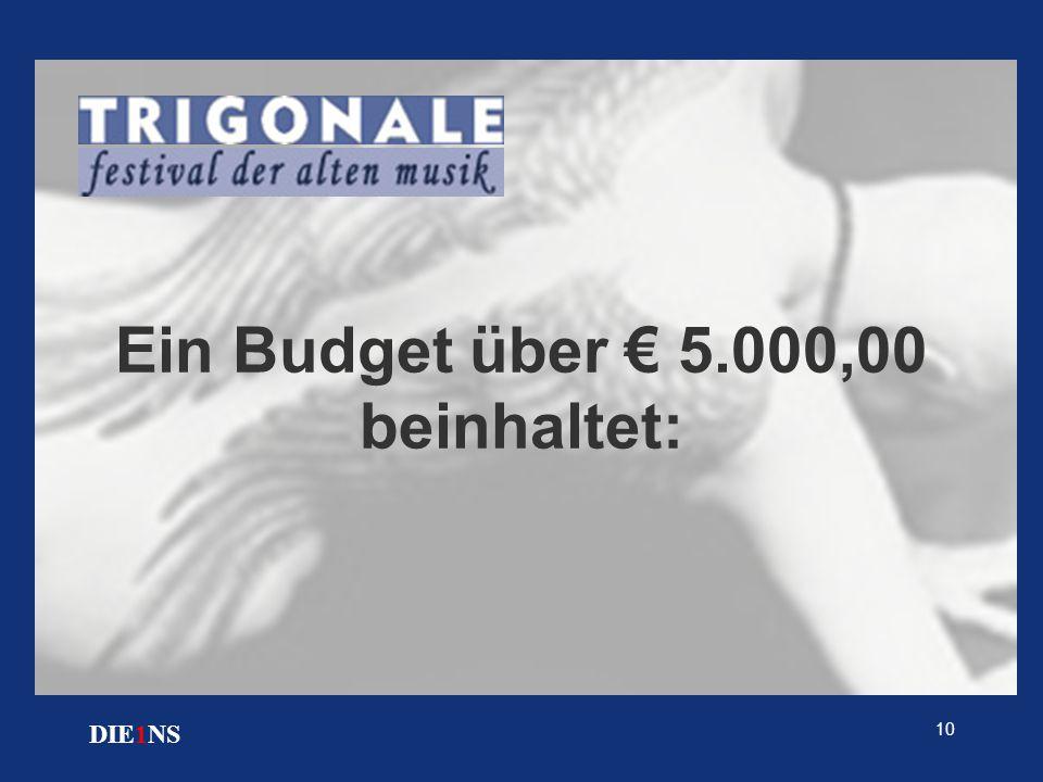 10 DIE1NS Ein Budget über € 5.000,00 beinhaltet: