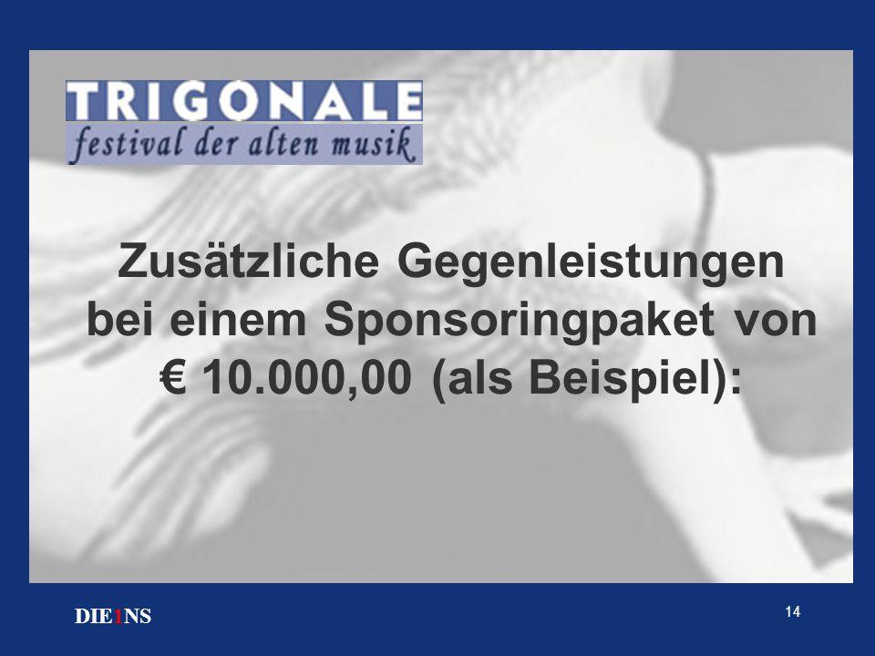 14 DIE1NS Zusätzliche Gegenleistungen bei einem Sponsoringpaket von € 10.000,00 (als Beispiel):