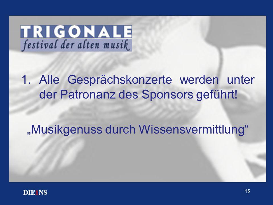 """15 DIE1NS 1.Alle Gesprächskonzerte werden unter der Patronanz des Sponsors geführt! """"Musikgenuss durch Wissensvermittlung"""""""