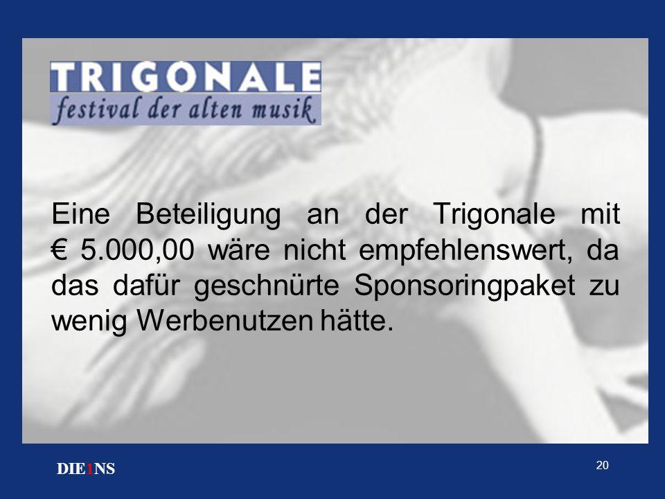 20 DIE1NS Eine Beteiligung an der Trigonale mit € 5.000,00 wäre nicht empfehlenswert, da das dafür geschnürte Sponsoringpaket zu wenig Werbenutzen hät