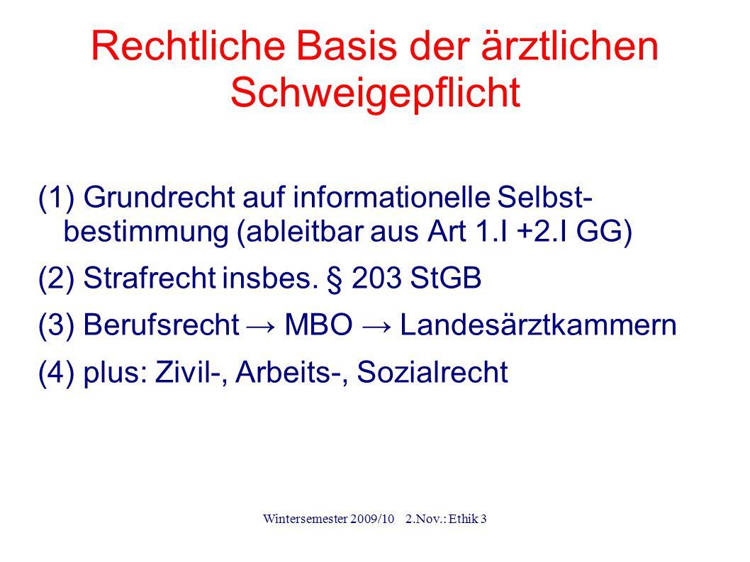 Wintersemester 2009/10 2.Nov.: Ethik 3 (Beweispflichtige) Ausnahmen (1)Explizite Entbindung durch den Patienten (2)Mutmaßliche (3)Gesetze (4)Höhere rechtliche/ ethische Güter