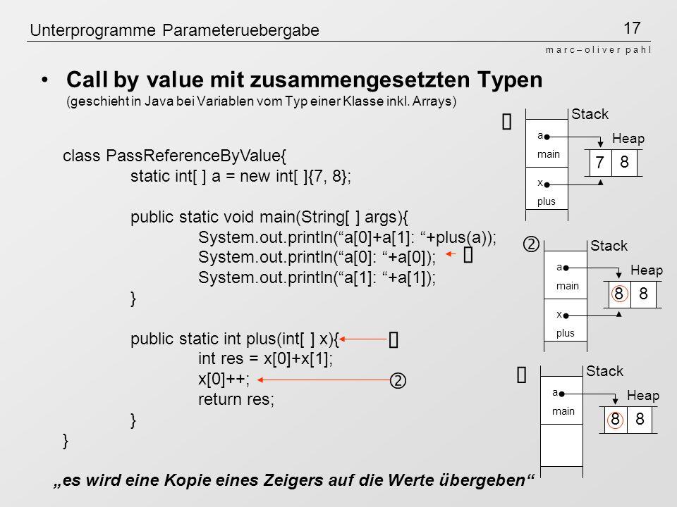 17 m a r c – o l i v e r p a h l Unterprogramme Parameteruebergabe Call by value mit zusammengesetzten Typen (geschieht in Java bei Variablen vom Typ