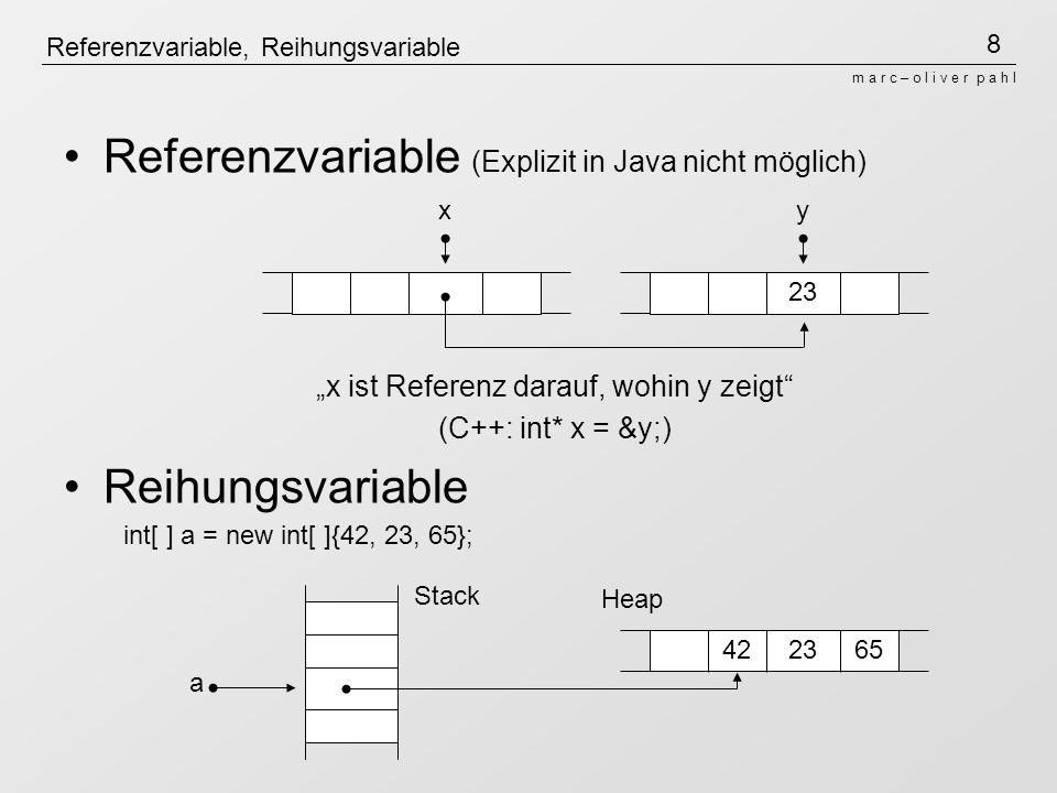 """9 m a r c – o l i v e r p a h l Ganzzahl-Arithmketik Java-Arithmetik nach Typ der Operanden 3/ 2 = 1, weil Ganzzahlarithmetik (1 [Rest 1]) Überlauf schneidet zusätzliche Bits ab (2 31 -1) + 1 = -2 31 (bei 32bit-Integer-Arithmetik) Grund: Zweierkomplementdarstellung: 01 11111 11111 11111 11111 11111 11111 [2 31 -1] +00 00000 00000 00000 00000 00000 00001 [1] =10 00000 00000 00000 00000 00000 00000 [-2 31 ] dadurch """"Ring und kein """"out of range"""