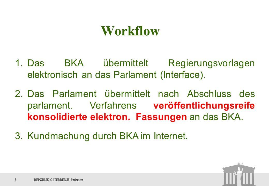 6REPUBLIK ÖSTERREICH Parlament 1.Das BKA übermittelt Regierungsvorlagen elektronisch an das Parlament (Interface). 2.Das Parlament übermittelt nach Ab