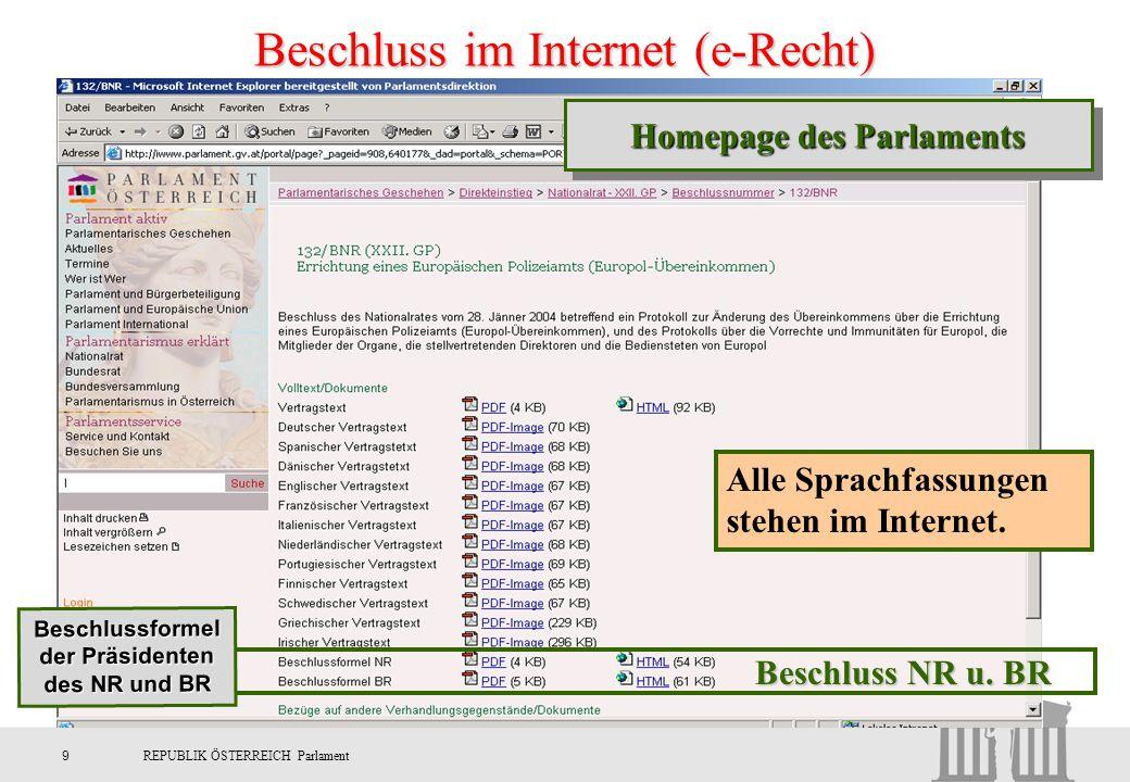 9REPUBLIK ÖSTERREICH Parlament Beschluss im Internet (e-Recht) Beschluss NR u. BR Alle Sprachfassungen stehen im Internet. Beschlussformel der Präside