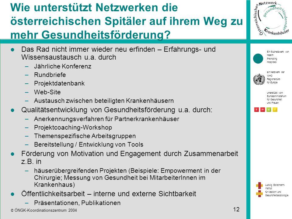 Ein Subnetzwerk von Health Promoting Hospitals ein Netzwerk der WHO Regionalbüro für Europa unterstützt vom Bundesministerium für Gesundheit und Frauen Ludwig Boltzmann- Institut für Medizin und Gesundheitssoziologie © ÖNGK-Koordinationszentrum 2004 12 Wie unterstützt Netzwerken die österreichischen Spitäler auf ihrem Weg zu mehr Gesundheitsförderung.