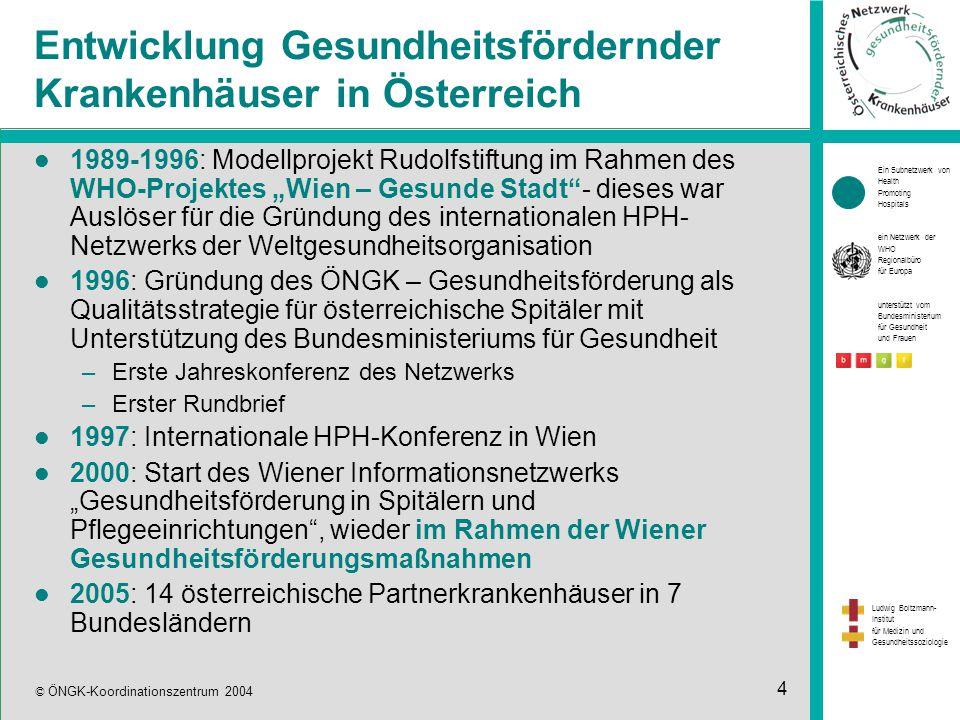"""Ein Subnetzwerk von Health Promoting Hospitals ein Netzwerk der WHO Regionalbüro für Europa unterstützt vom Bundesministerium für Gesundheit und Frauen Ludwig Boltzmann- Institut für Medizin und Gesundheitssoziologie © ÖNGK-Koordinationszentrum 2004 4 Entwicklung Gesundheitsfördernder Krankenhäuser in Österreich 1989-1996: Modellprojekt Rudolfstiftung im Rahmen des WHO-Projektes """"Wien – Gesunde Stadt - dieses war Auslöser für die Gründung des internationalen HPH- Netzwerks der Weltgesundheitsorganisation 1996: Gründung des ÖNGK – Gesundheitsförderung als Qualitätsstrategie für österreichische Spitäler mit Unterstützung des Bundesministeriums für Gesundheit –Erste Jahreskonferenz des Netzwerks –Erster Rundbrief 1997: Internationale HPH-Konferenz in Wien 2000: Start des Wiener Informationsnetzwerks """"Gesundheitsförderung in Spitälern und Pflegeeinrichtungen , wieder im Rahmen der Wiener Gesundheitsförderungsmaßnahmen 2005: 14 österreichische Partnerkrankenhäuser in 7 Bundesländern"""