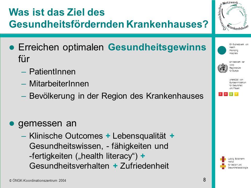 Ein Subnetzwerk von Health Promoting Hospitals ein Netzwerk der WHO Regionalbüro für Europa unterstützt vom Bundesministerium für Gesundheit und Frauen Ludwig Boltzmann- Institut für Medizin und Gesundheitssoziologie © ÖNGK-Koordinationszentrum 2004 8 Was ist das Ziel des Gesundheitsfördernden Krankenhauses.