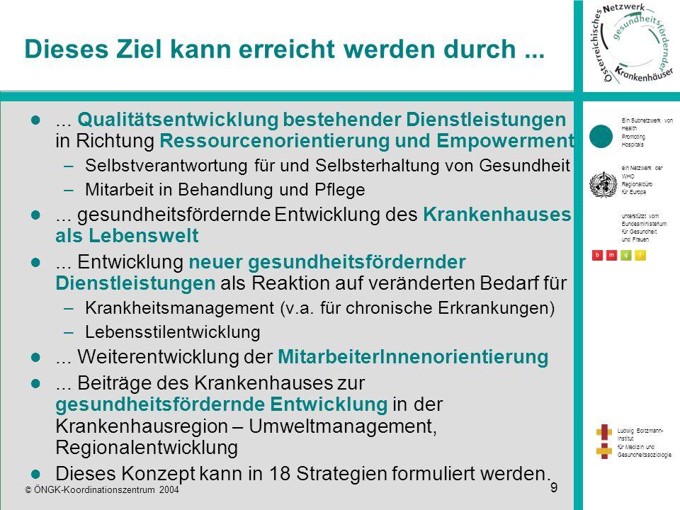 Ein Subnetzwerk von Health Promoting Hospitals ein Netzwerk der WHO Regionalbüro für Europa unterstützt vom Bundesministerium für Gesundheit und Frauen Ludwig Boltzmann- Institut für Medizin und Gesundheitssoziologie © ÖNGK-Koordinationszentrum 2004 9 Dieses Ziel kann erreicht werden durch......