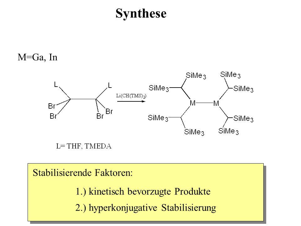 Synthese M=Ga, In Stabilisierende Faktoren: 1.) kinetisch bevorzugte Produkte 2.) hyperkonjugative Stabilisierung