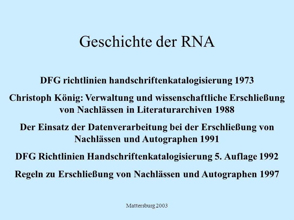Mattersburg 2003 Geschichte der RNA DFG richtlinien handschriftenkatalogisierung 1973 Christoph König: Verwaltung und wissenschaftliche Erschließung v