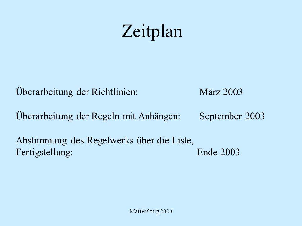 Mattersburg 2003 Zeitplan Überarbeitung der Richtlinien: März 2003 Überarbeitung der Regeln mit Anhängen: September 2003 Abstimmung des Regelwerks übe