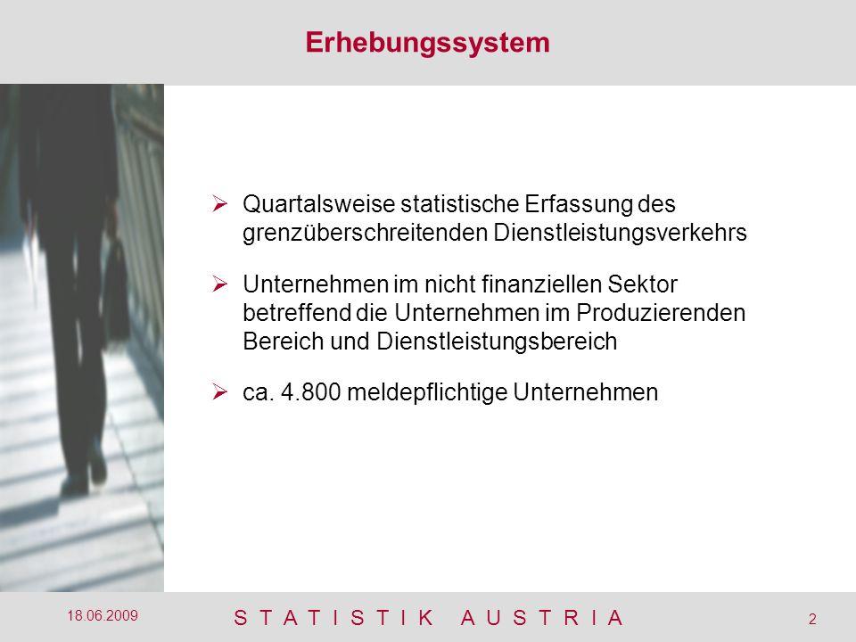 S T A T I S T I K A U S T R I A 2 18.06.2009  Quartalsweise statistische Erfassung des grenzüberschreitenden Dienstleistungsverkehrs  Unternehmen im nicht finanziellen Sektor betreffend die Unternehmen im Produzierenden Bereich und Dienstleistungsbereich  ca.