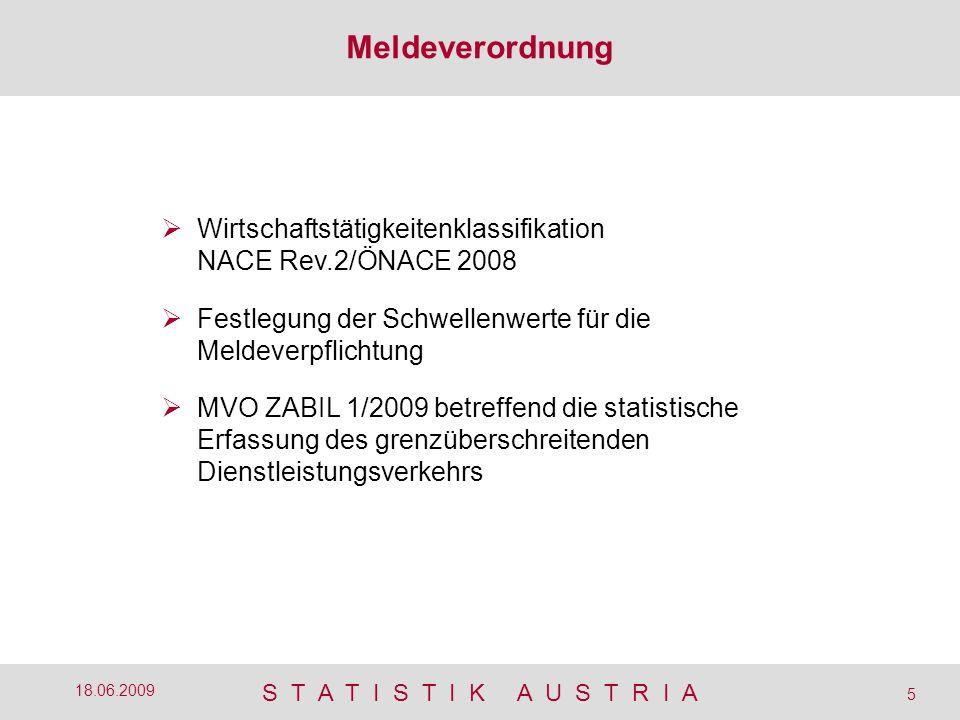 S T A T I S T I K A U S T R I A 5 18.06.2009  Wirtschaftstätigkeitenklassifikation NACE Rev.2/ÖNACE 2008  Festlegung der Schwellenwerte für die Meldeverpflichtung  MVO ZABIL 1/2009 betreffend die statistische Erfassung des grenzüberschreitenden Dienstleistungsverkehrs Meldeverordnung