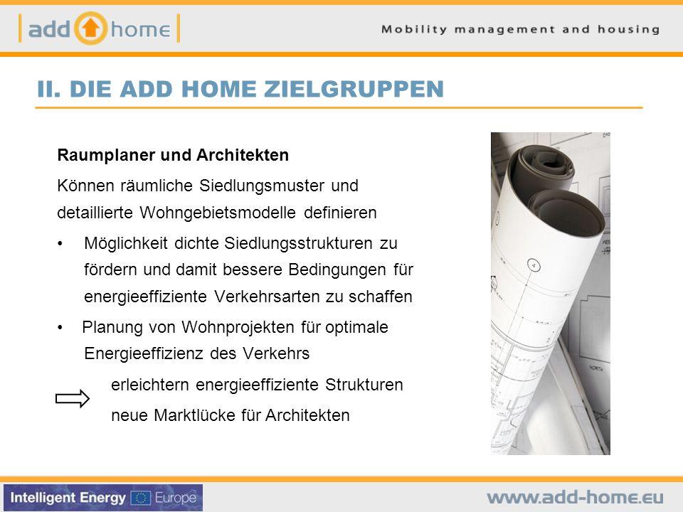 II. DIE ADD HOME ZIELGRUPPEN Raumplaner und Architekten Können räumliche Siedlungsmuster und detaillierte Wohngebietsmodelle definieren Möglichkeit di