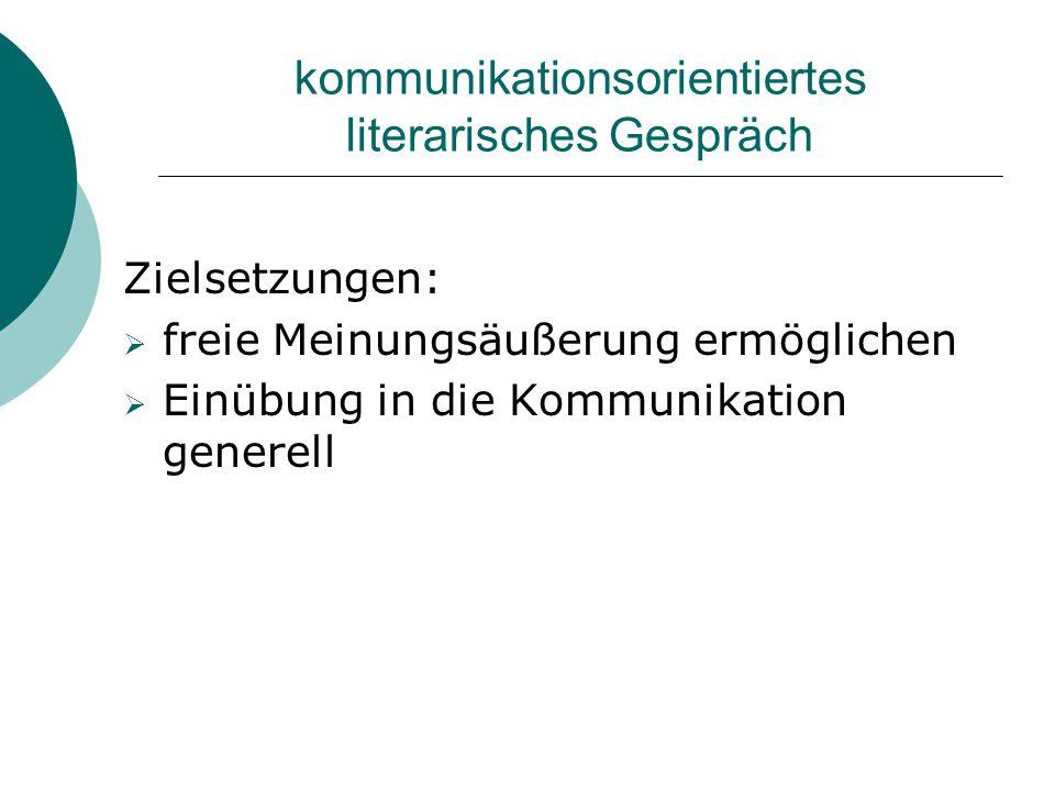 kommunikationsorientiertes literarisches Gespräch Zielsetzungen:  freie Meinungsäußerung ermöglichen  Einübung in die Kommunikation generell