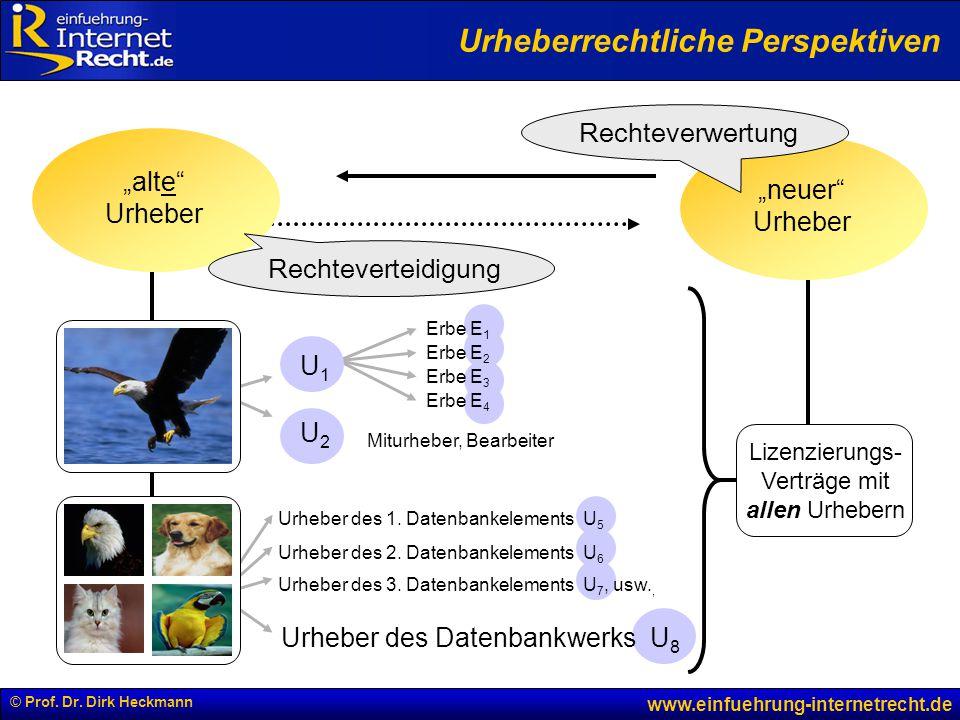 © Prof. Dr. Dirk Heckmann www.einfuehrung-internetrecht.de U1U1 U2U2 Urheber des 1. Datenbankelements U 5 Urheber des 2. Datenbankelements U 6 Urheber
