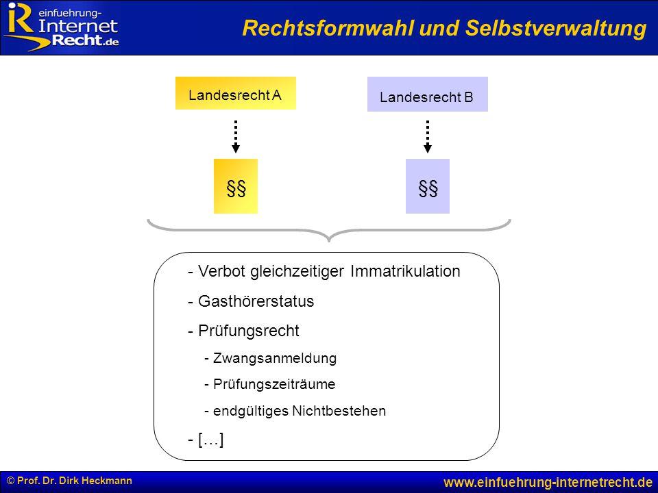 © Prof. Dr. Dirk Heckmann www.einfuehrung-internetrecht.de §§ - Verbot gleichzeitiger Immatrikulation - Gasthörerstatus - Prüfungsrecht - Zwangsanmeld