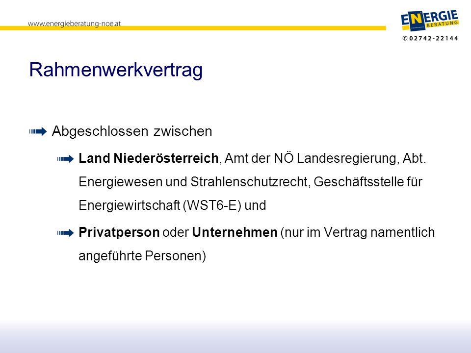 Rahmenwerkvertrag Abgeschlossen zwischen Land Niederösterreich, Amt der NÖ Landesregierung, Abt. Energiewesen und Strahlenschutzrecht, Geschäftsstelle