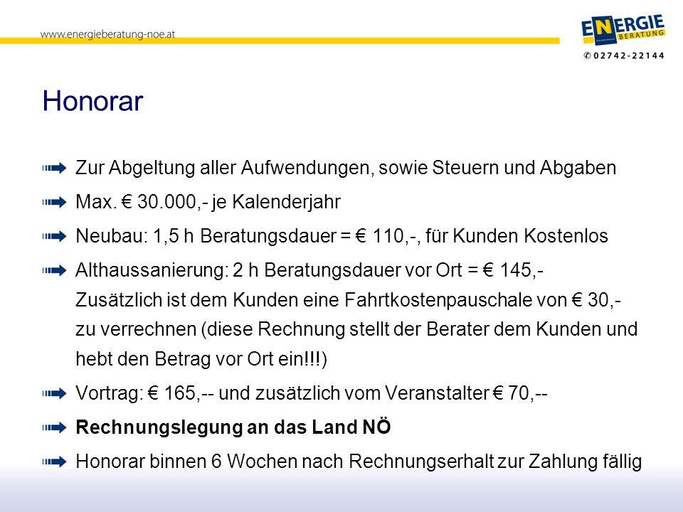 Honorar Zur Abgeltung aller Aufwendungen, sowie Steuern und Abgaben Max. € 30.000,- je Kalenderjahr Neubau: 1,5 h Beratungsdauer = € 110,-, für Kunden