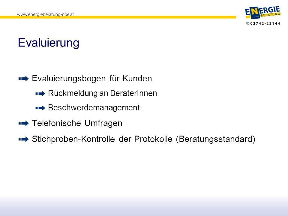 Evaluierung Evaluierungsbogen für Kunden Rückmeldung an BeraterInnen Beschwerdemanagement Telefonische Umfragen Stichproben-Kontrolle der Protokolle (