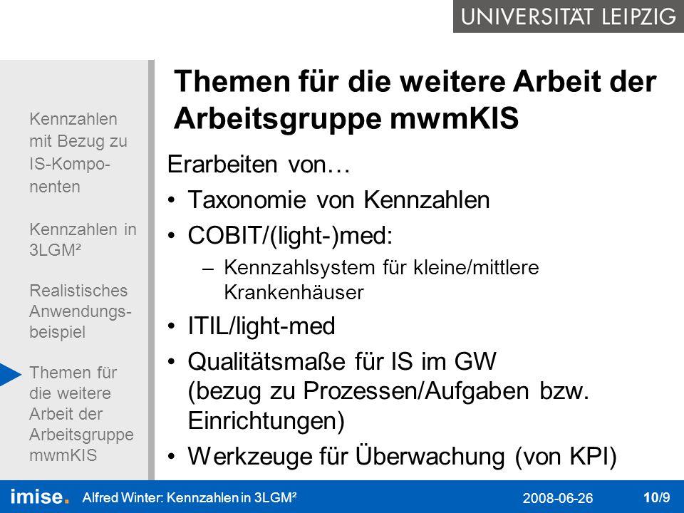 Kennzahlen mit Bezug zu IS-Kompo- nenten Kennzahlen in 3LGM² Realistisches Anwendungs- beispiel Themen für die weitere Arbeit der Arbeitsgruppe mwmKIS