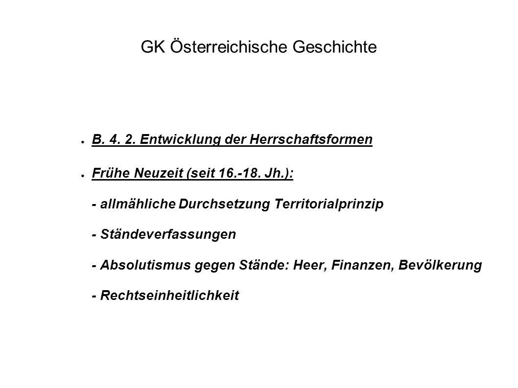 GK Österreichische Geschichte ● B. 4. 2. Entwicklung der Herrschaftsformen ● Frühe Neuzeit (seit 16.-18. Jh.): - allmähliche Durchsetzung Territorialp