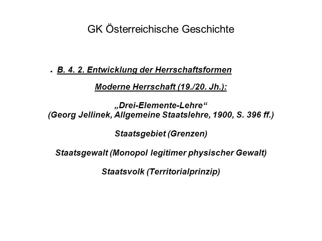 """GK Österreichische Geschichte ● B. 4. 2. Entwicklung der Herrschaftsformen Moderne Herrschaft (19./20. Jh.): """"Drei-Elemente-Lehre"""" (Georg Jellinek, Al"""
