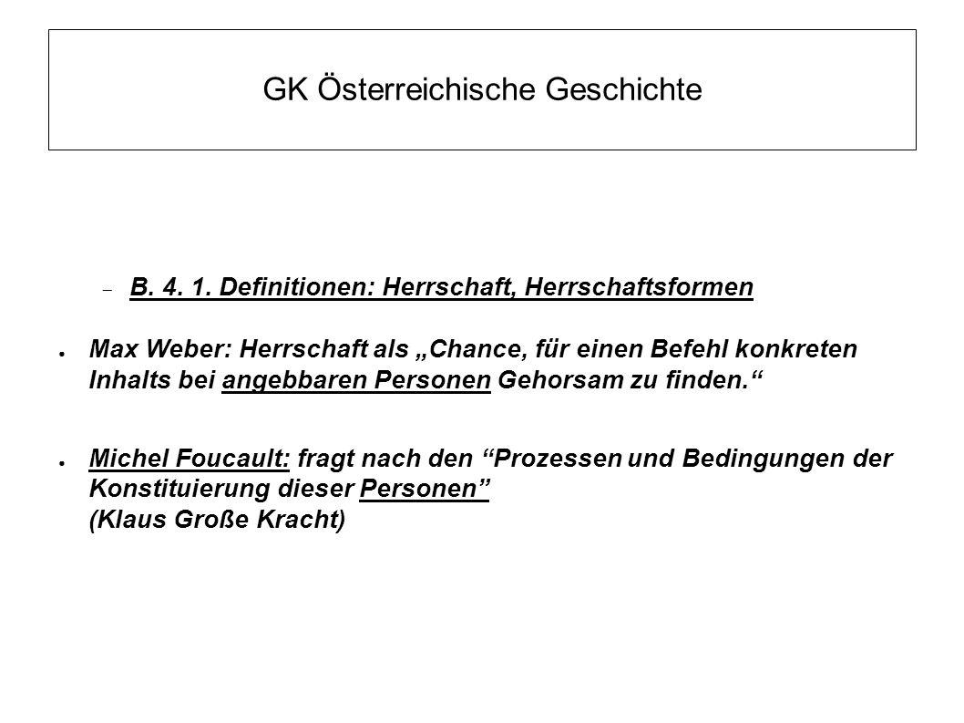 """GK Österreichische Geschichte  B. 4. 1. Definitionen: Herrschaft, Herrschaftsformen ● Max Weber: Herrschaft als """"Chance, für einen Befehl konkreten I"""