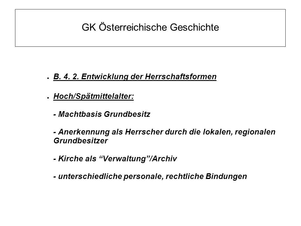 GK Österreichische Geschichte ● B. 4. 2. Entwicklung der Herrschaftsformen ● Hoch/Spätmittelalter: - Machtbasis Grundbesitz - Anerkennung als Herrsche
